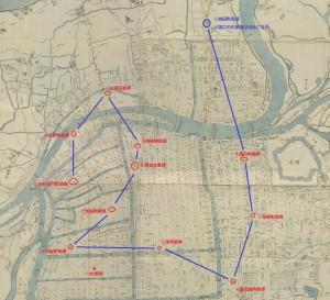 増脩改正攝州大阪地圖4北西10ab赤丸青ルート枠